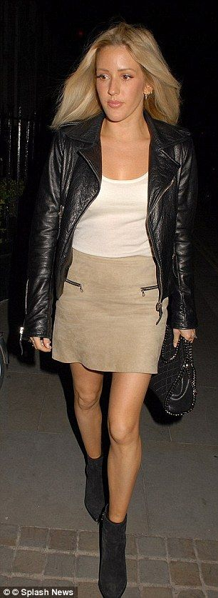 Ellie Goulding visits Chiltern Firehouse on a summer's evening wearing a biker jacket...