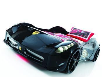 Lit enfant voiture FERRARICAR, avec sommier inclus, coloris noir
