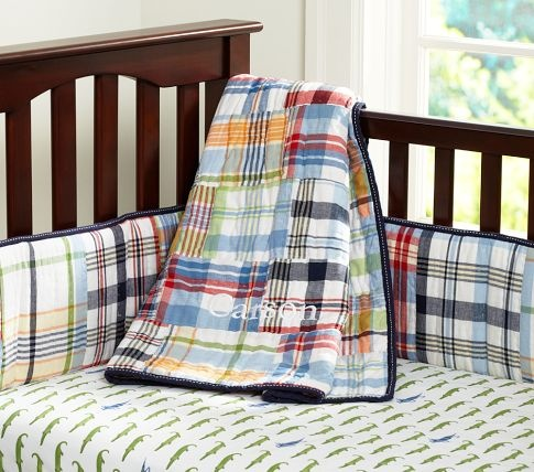 Pottery Barn Madras in navy - This is what P has in his room! We painted his room orange & I love it!