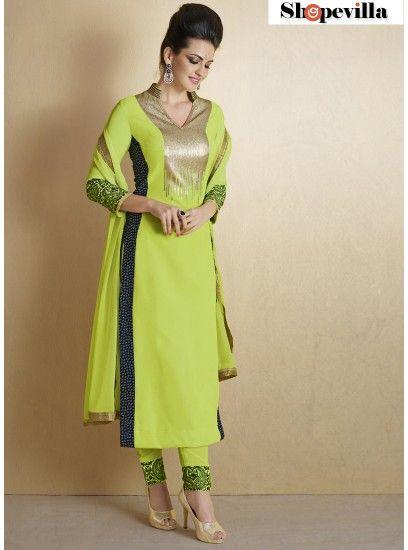 Light Green Bhagalpuri Silk Pakistani Style Suit-1012-B