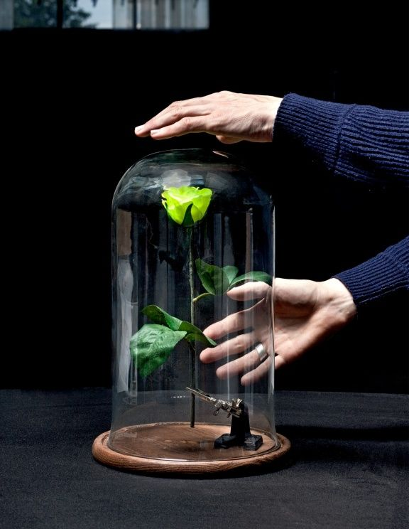 Daan Roosegaardes flower that gives light to human presence