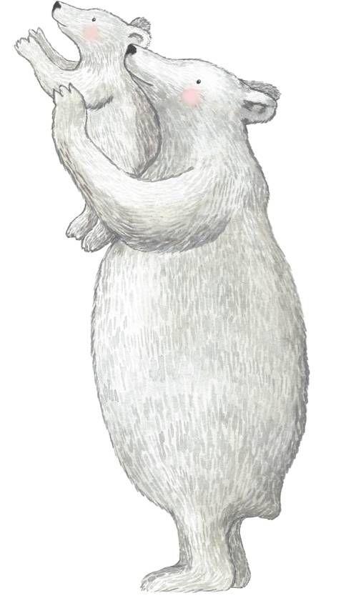 Die große Eisbär hält kleines Eisbärchen gut f…
