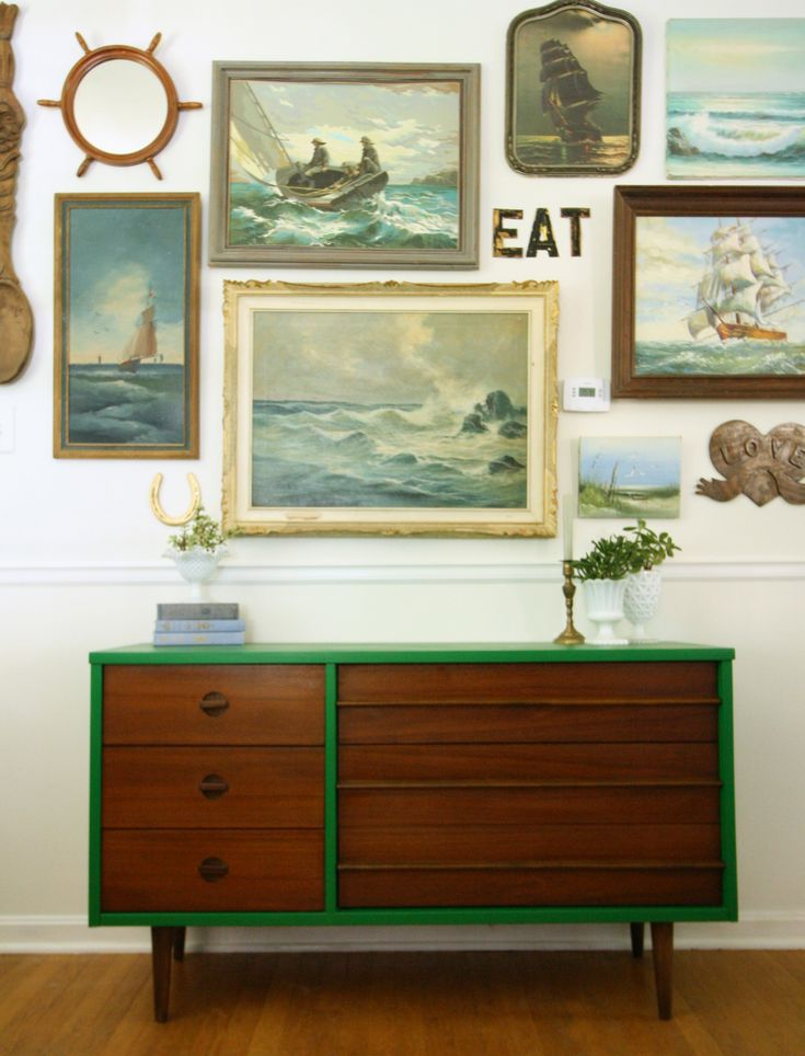 diy emerald and wood mid-century dresser - and i love that collection of wall art too!