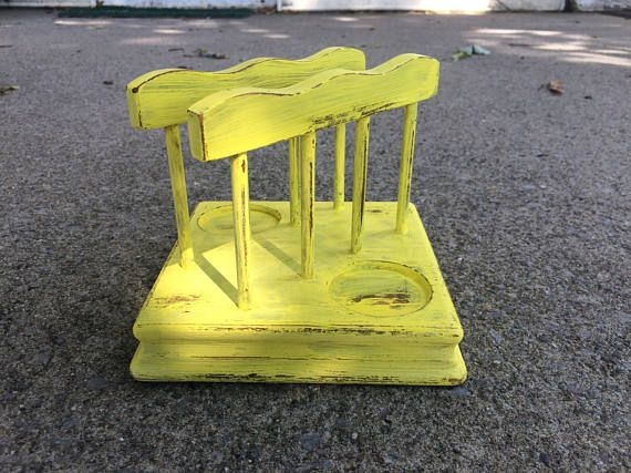 Vintage Wood napkin holder repurposed in Sunny Yellow Country