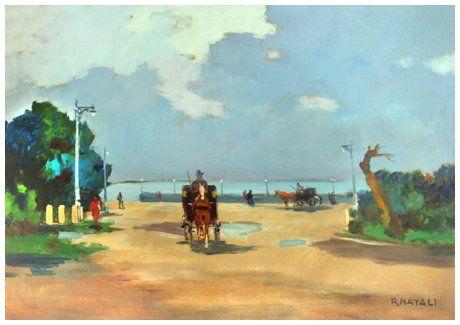 """Renato Natali (Livorno 1883 - 1979), """"Ardenza - Livorno"""" Olio su tavola 35 x 50. Firma in b. a d.; sul verso titolo e firma + 2 timbri galleria Chiellini, Livorno."""
