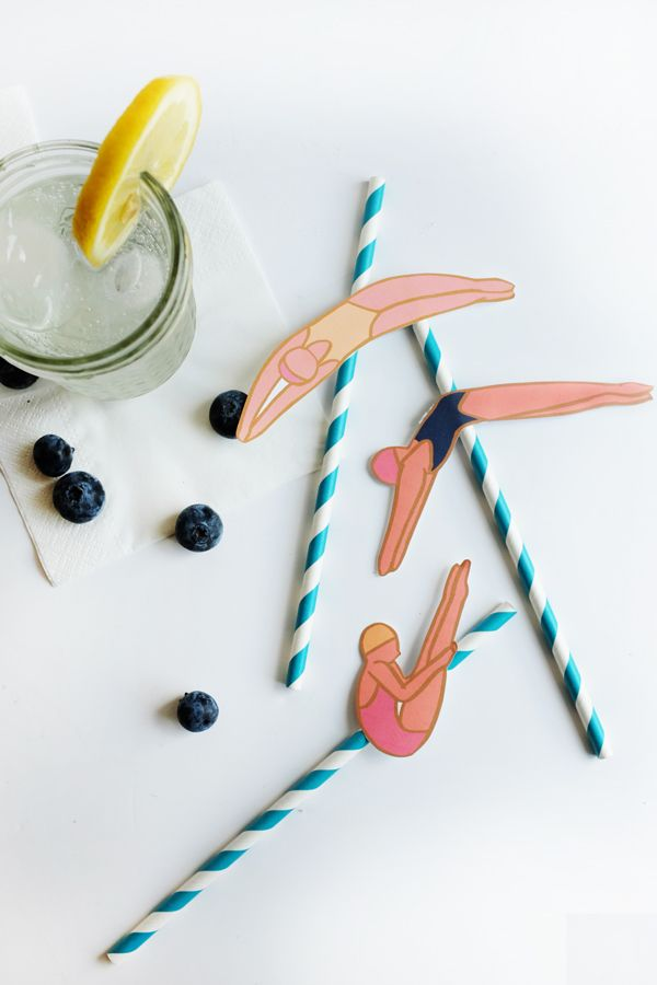 Printable Diving Lady Straws (Oh Happy Day!)