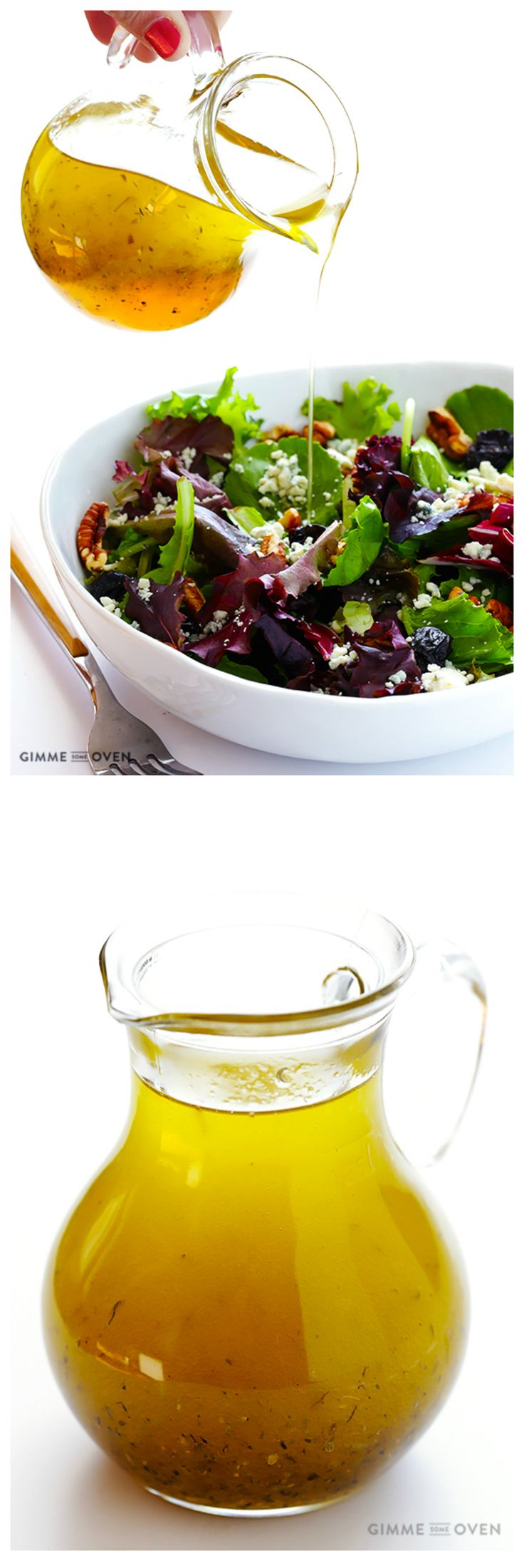 White Balsamic Vinaigrette - a delicious and easy alternative to traditional balsamic that won't turn your salad brown! | gimmesomeoven.com