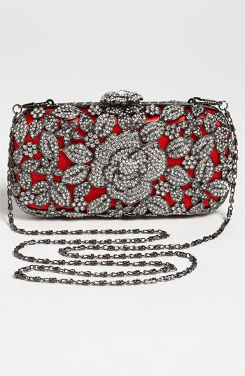 Natasha Couture Crystal Caged Floral Clutch