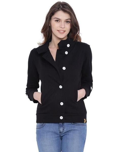 LadyIndia.com # Koti, Campus Sutra Women Black High Neck Jacket, Coats, Jackets, Long Coats, Koti, https://ladyindia.com/collections/western-wear/products/campus-sutra-women-black-high-neck-jacket