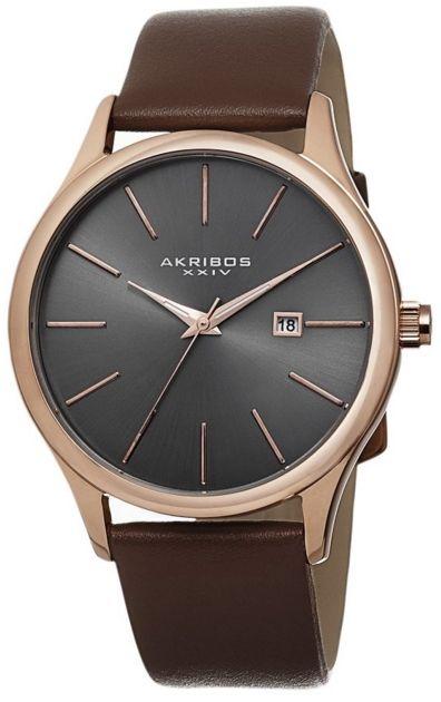 Akribos XXIV Men's AK618RG Essential Rose-tone Stainless Steel Brown Leather Strap Watch