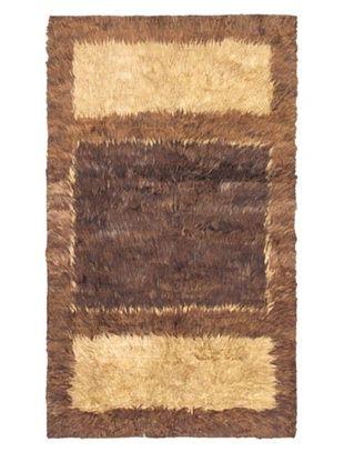 65% OFF Rabat Long Hair Modern Rug, Black Yellow, 3' 8