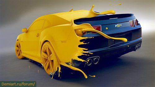 Уроки Дизайнера : Крутое авто въехавшее в желтую краску