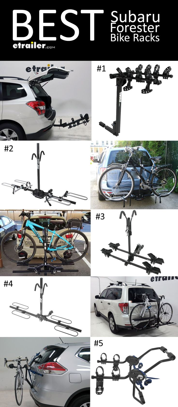 Best Subaru Forester Bike Racks!  - Thule Hitching Post Pro - Folding Tilting 4 Bike Rack w Anti-Sway  - Swagman XTC-2 2-Bike Platform Rack - Thule Doubletrack Platform-Style 2 Bike Rack  - Swagman XC 2-Bike Rack Platform Style - Thule Passage Trunk Mount 2 Bike Carrier