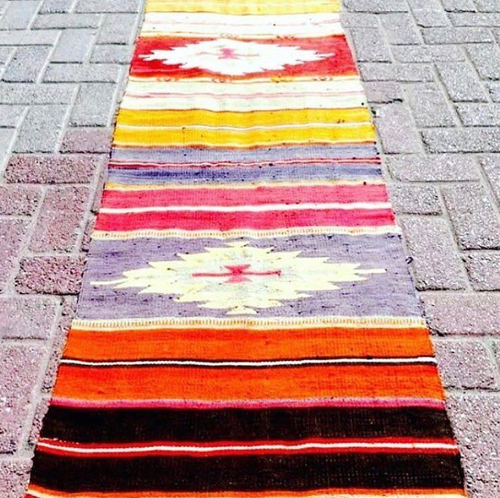 """PRICE DROP Incredible Vintage Turkish Anatolian Runner. Handwoven. Boho Chic! 22.8"""" x 104.3"""". For $ale! Was $270.00. Now $220.00  Free Shipping. Purchase is EASY. DM Me with email address and shipping address. I send invoice. You Pay Invoice. I pack and ship!  ALSO - DM for more pics:))"""
