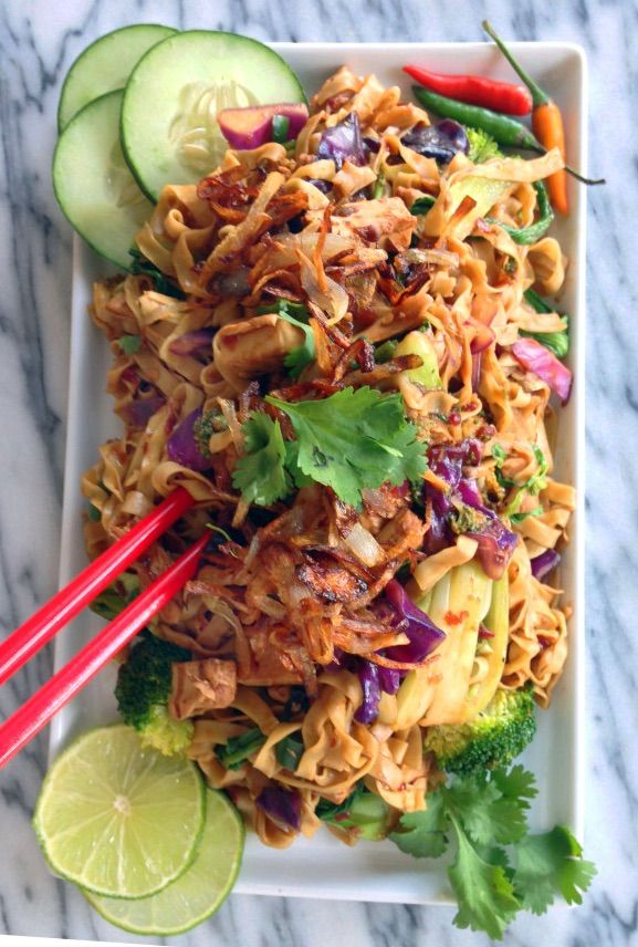 (Asian: Indonesian Cuisine)  Spicy Street Cart Noodles- Inspired by the food carts in Indonesia, these street cart noodles use crispy shallots and hoisin sauce.
