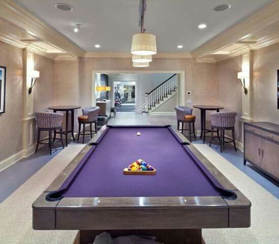 AWESOME! A PURPLE FELT POOL TABLE!