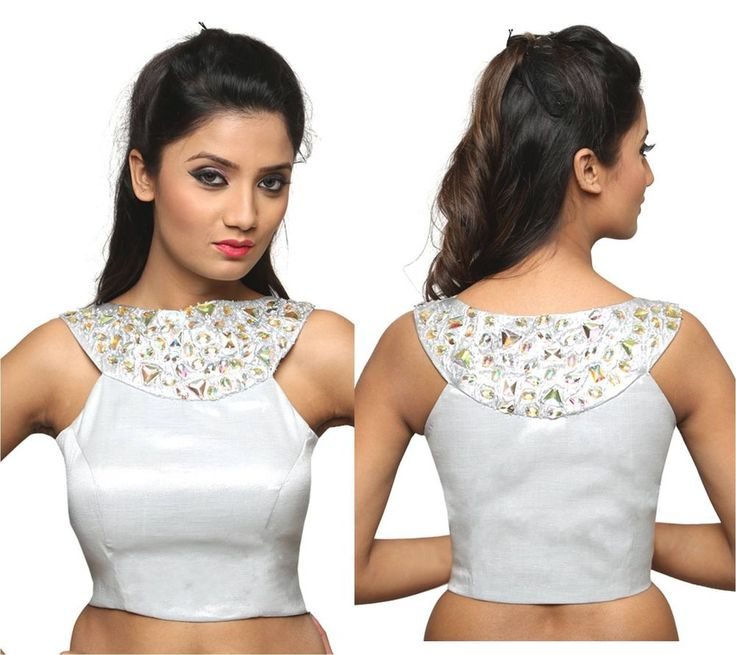 Silver readymade stitched blouse with beaded neckline in Tissue fabric ct_22