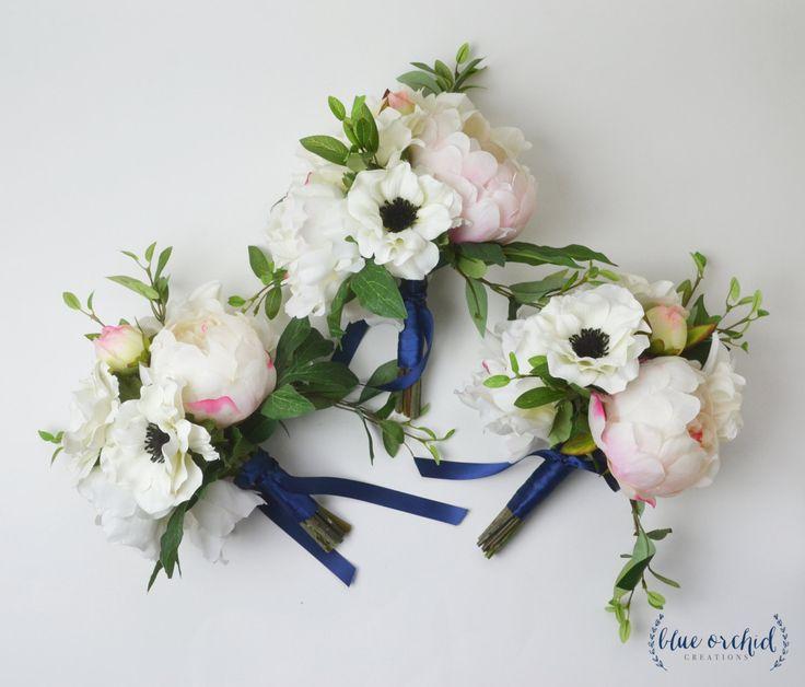 Bridesmaid Bouquet, Silk Flower Bouquet, Peony Bouquet, Blush Pink Bouquet, Anemone Bouquet, Wedding Bouquet, Wedding Flowers, Bouquet Set by blueorchidcreations on Etsy