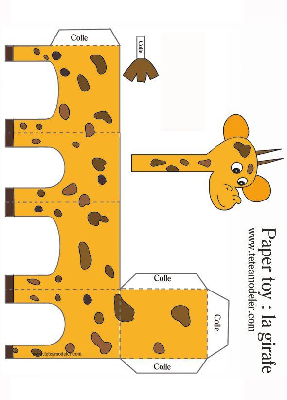 Paper toy girafe à imprimer sur Tête à modeler