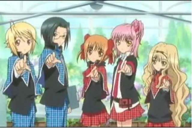 The Guardians From Left To Right- Shugo Chara Wiki Tadase (King), Kairi (New Jack) ,Yaya (Ace), Amu (Joker), and Rima (New Queen)