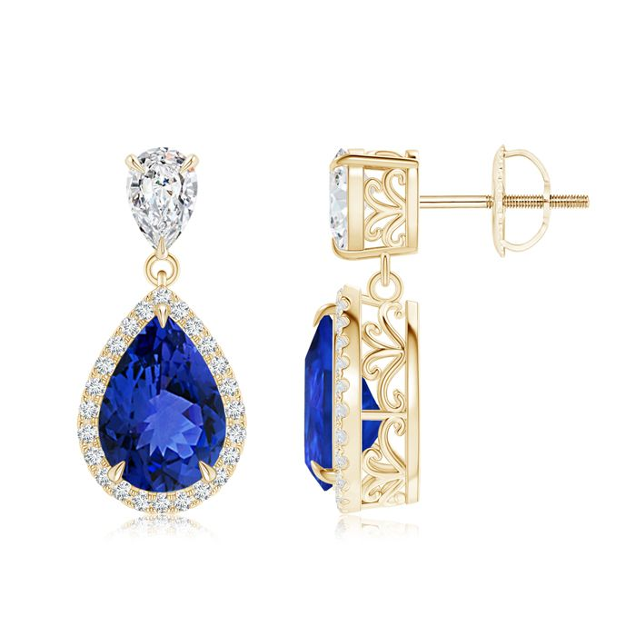 Angara Oval Tanzanite and Diamond Earrings With Metal Curves in Platinum XlOB4X5