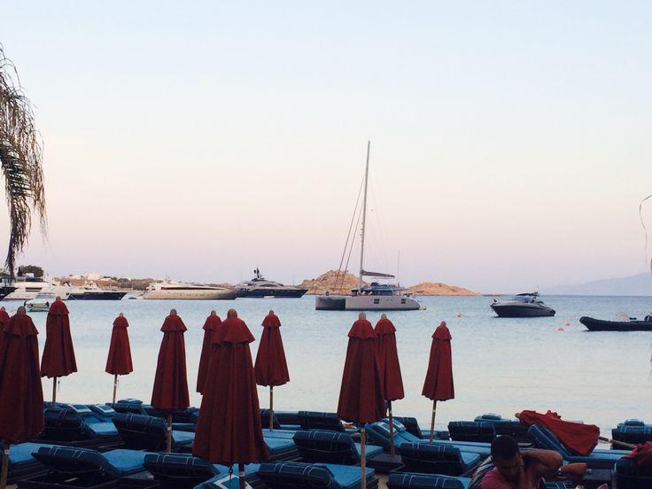 Nammos restaurant by the sea. Psarou beach  Greece Myconos