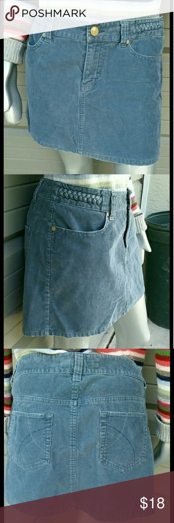 Fossil Blue Corduroy Hipster Skirt Brand Fossil Size 10 100%Cotton  Great condition  Tradition Style Hipster Skirt with Pockets Zipper Fly Front. Had accents braided waistband.  Cute to mix and match for Fall wear.  Bundles available with discounts Fossil Skirts Mini