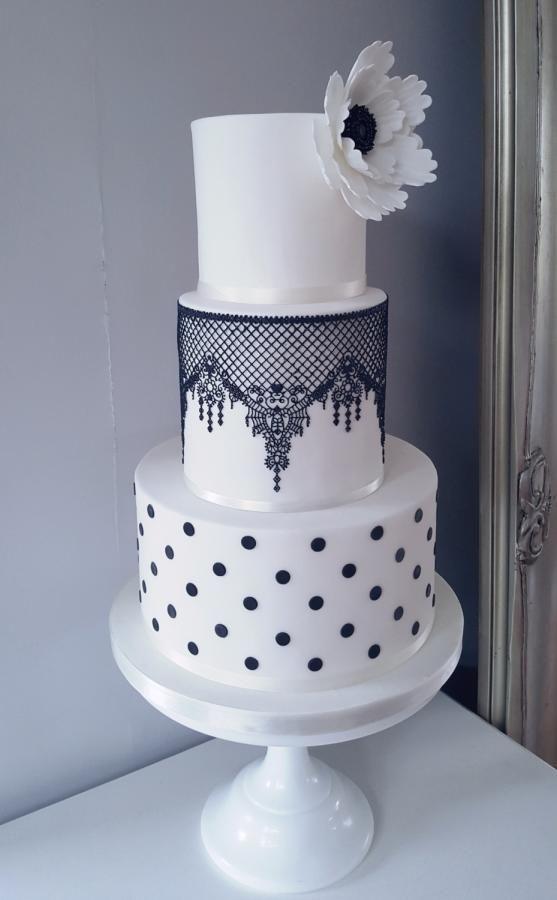 Black and White Lace Polka Dot Wedding Cake by Klis Cakery - http://cakesdecor.com/cakes/303621-black-and-white-lace-polka-dot-wedding-cake