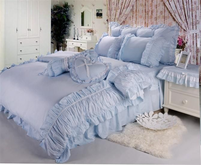 Rustic FAIRYFAIR 100% Bedding Cotton Four Piece Set Princess Dream Blue  Bedding Wholesale Cheap Price