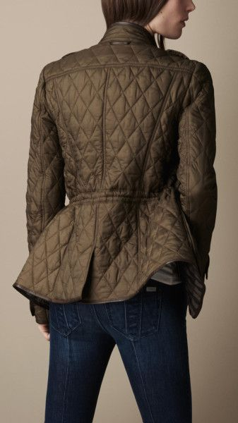 Green Quilted Leather Jackets for Women   Jackets Leather jackets Burberry Brit Jackets