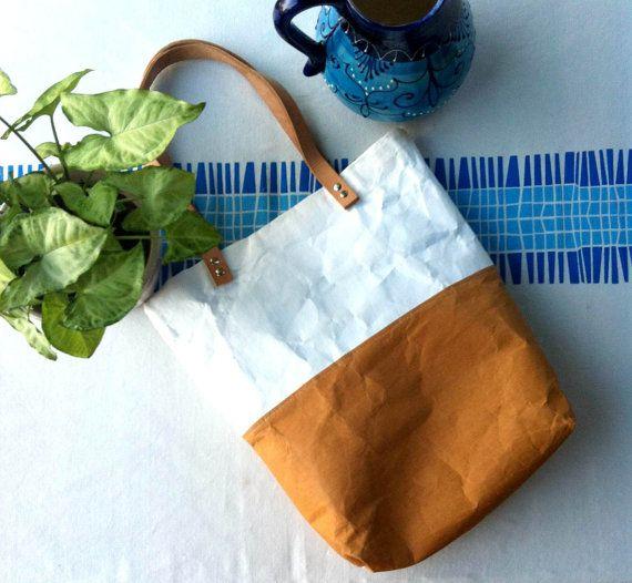 Paper/Kraft Bag handmade tote bag two tone brown white kraft tex fabric leather straps