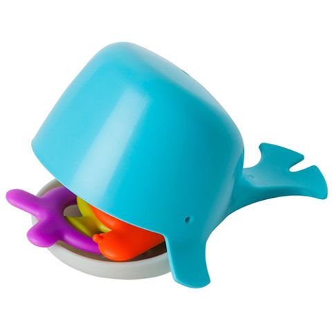 $8, amazon.com This hungry, hungry whale is ready to eat.  Squeeze his fin to open his jaw wide so he can gobble up the floating sea creatures, encouraging your child's hand-eye coordination. Once bath is done, the extra pieces store right inside his mouth. More: The Best Bath Toy Storage Solutions