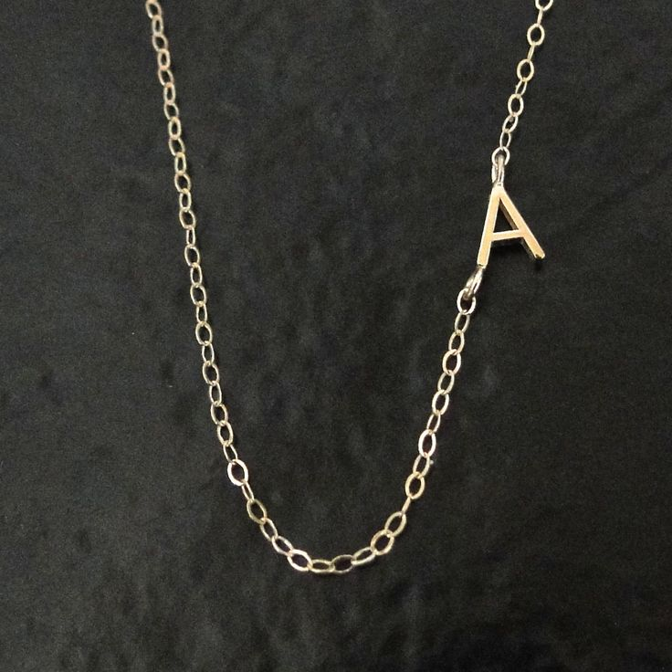 tiny sideways initial necklace single or multiple initials 14k solid gold asymmetrical letter necklace