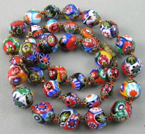 Vintage Venetian Millefiori Art Glass Beads Necklace Murano Italy | eBay
