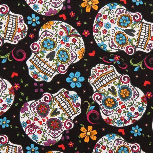 Tissu têtes de mort et fleurs black flower skull fabric Folkloric Skulls USA Modes4u