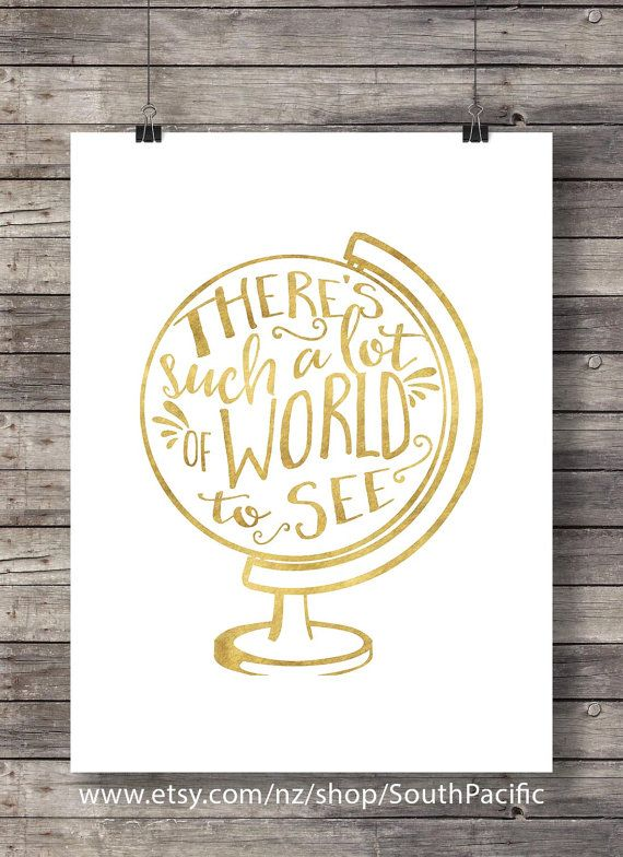 11 best travel home decor images on pinterest quote art travel such a lot of world to see faux gold foil globe travel wall art free coupon codestravel fandeluxe Gallery