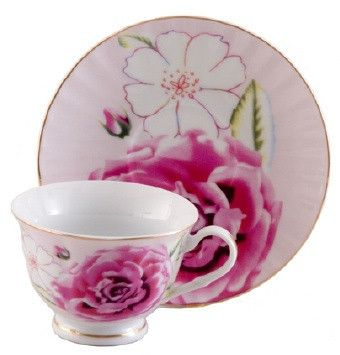 Pink Morning Porcelain Teacup and saucer