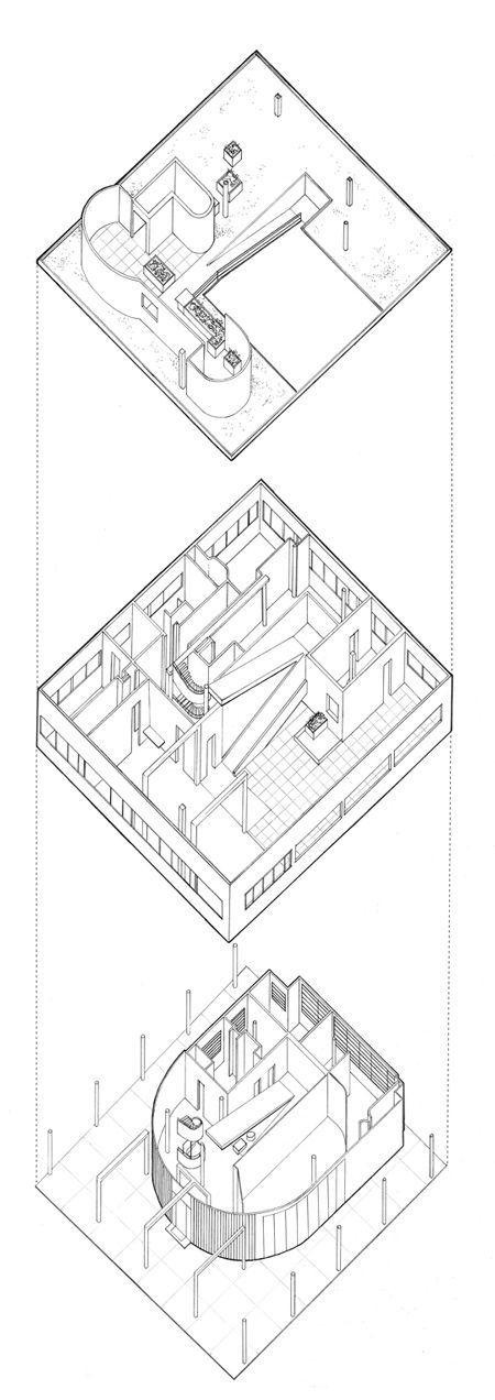 Le Corbusier. Villa Savoye. 1929-31. Axonometric diagram showing movement through space. This building exemplifies his 5 famous principles of modernist architecture.