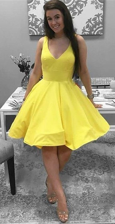 5a56696dcdd11 yellow party dress,simple short homecoming dresses,semi formal dress by  Hiprom, $100.70 USD
