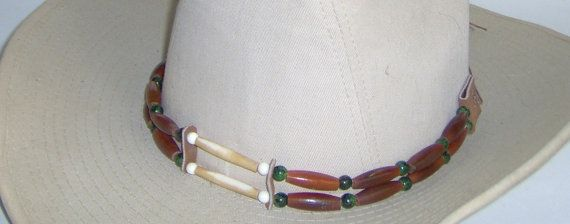 Hat-Band Maroon and White Bone Pipe Beads with by HandCraftedMinds
