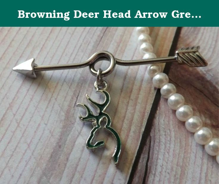 "Browning Deer Head Arrow Green Industrial Barbell 14ga Industrial Piercing. This is a 14ga surgical stainless steel 1/2"" barbell. It has a light weight browning deer head charm. * Surgical Steel 14ga Barbell * Browning Deer Head."