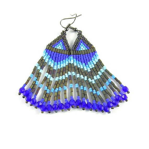 Blue Rainbow  Long ethnic style beadwoven by Taurielscraft on Etsy, $21.00,  #beadwork, #earrings, #native