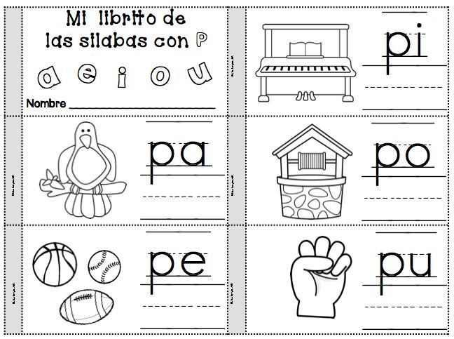 Silabas pa, pe, pi, po, pu Fichas para la letra P Spanish Alphabet Resources