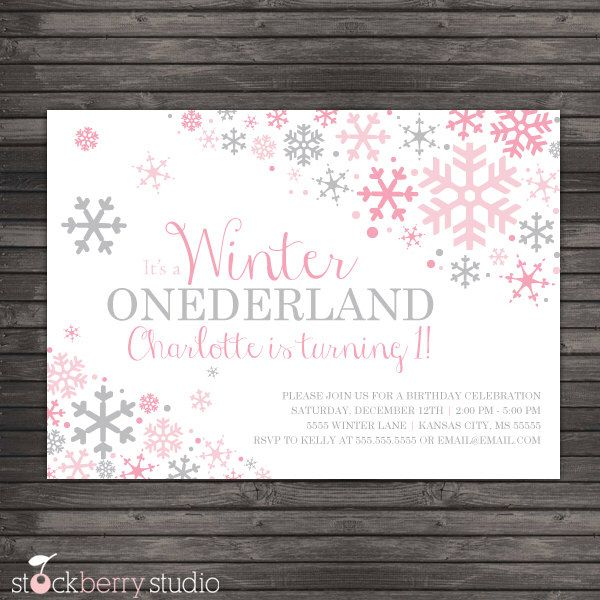 Winter Onederland Invitation Printable - Pink Gray Winter Wonderland Birthday Party - Winter Onederland Birthday - Snowflake Birthday Invite by stockberrystudio on Etsy https://www.etsy.com/listing/173000905/winter-onederland-invitation-printable