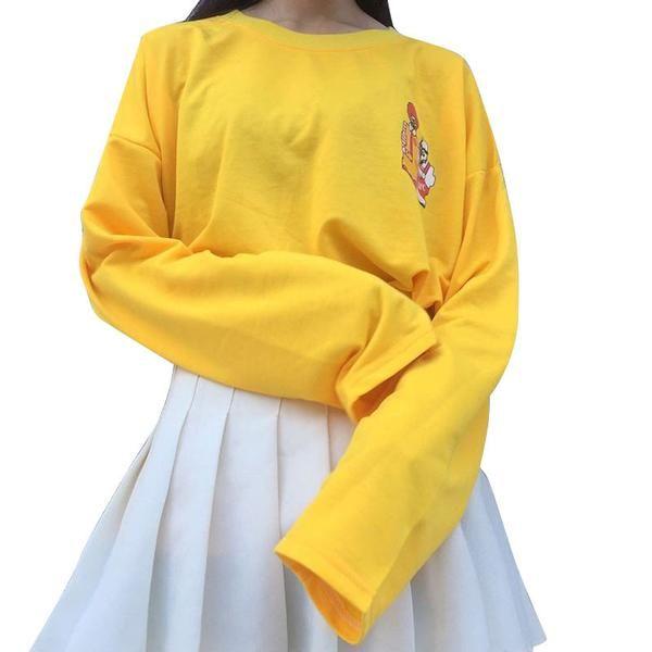 2016 New T-shirts Women Kpop Harajuku T Shirt Female Loose Long Sleeve Cartoon Yellow Tops Tee Funny Girls Lady Clothing Autumn