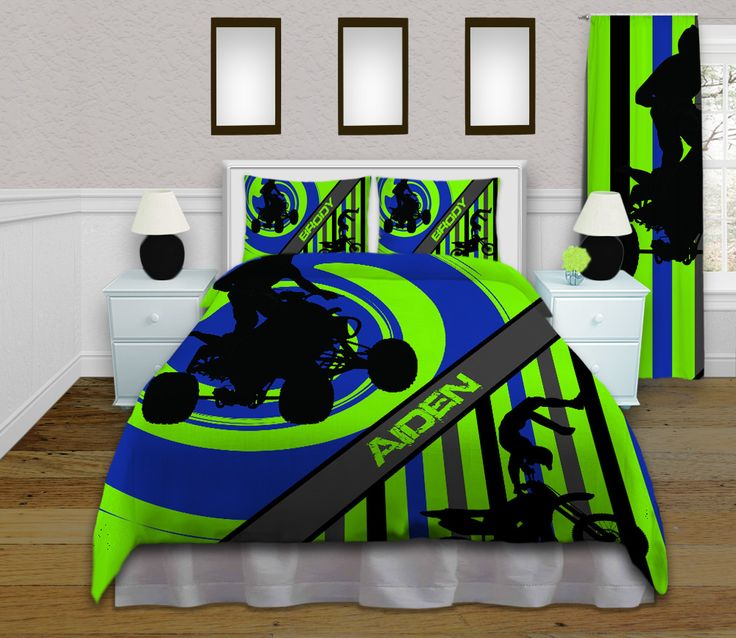 ATV Green And Blue Comforter Sets, Personalized Motocross Teenage Bedding,  Popular Dirt Bike Boys Twin, Queen / Full, King Bedroom Sets