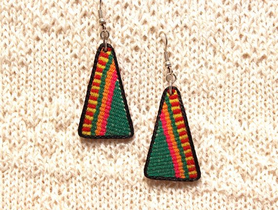 SALE 16% OFF* BOHO Tribal Ethnic Andean Handmade Earrings. Genuine Aguayo (Bolivian Peruvian fabric), Leather and Alpaca Silver