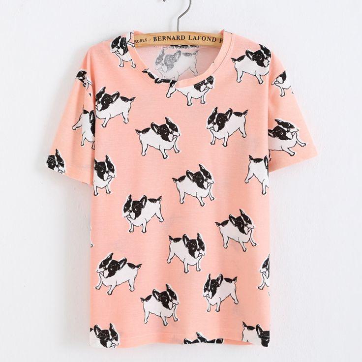 Encontrar Más Camisetas Información acerca de 2016 mujeres Kawaii camisetas impresión del perro para rosadas del verano Tops T Shirt, alta calidad piezas de camisa, China camisas grandes Proveedores, barato camisa xxxxl de -I LOVE- en Aliexpress.com