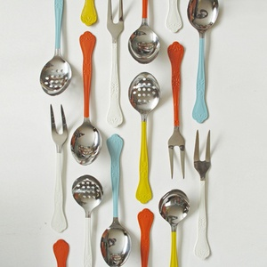 stainless steel utensils with color coated handles