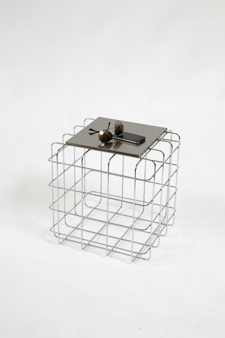 Wire by Ronda Design, design Luca Roccadadria #Design #wire #coffeetable #steel #furniture #coffetable with colored #metal frame and #magnetic top